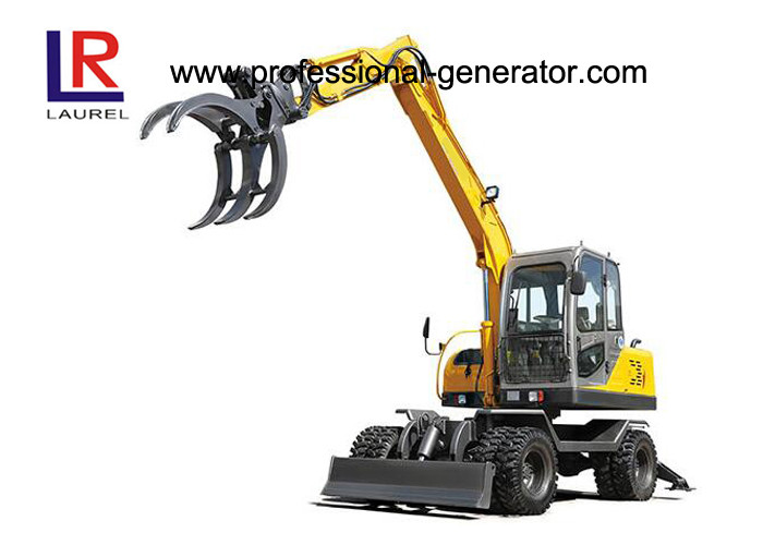 0.3CBM 8.3 Ton Heavy Construction Machinery / Wheeled Mini Excavator With Sugarcane Grapple